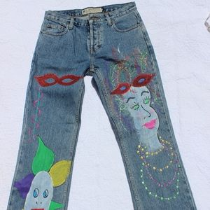 Vtg. American Eagle Painted Jeans Sz 28 High Rise